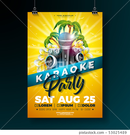 Summer Karaoke Party Flyer Design with flower, microphone, speaker and palm trees on sun yellow 53025489