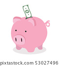 Piggy bank with dollar banknote vector 53027496