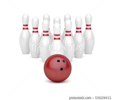 Bowling ball and ten pins 53029411