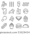 Set of Fast Food Vector Line Icons. Contains such Icons as Pizza, Tacos 53029434