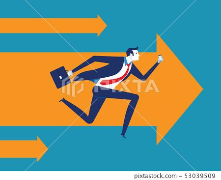 Businessman with smartphone running forward. 53039509