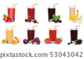 Fresh fruit and vegetable juice in glass. Set of vector icons. Eps 10 53043042