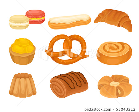 Set of images of various bakery products. Vector illustration on white background. 53043212