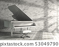 3d illustration of white grand piano. 53049790