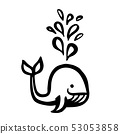 Cute cartoon whale hand painted with ink brush stroke 53053858