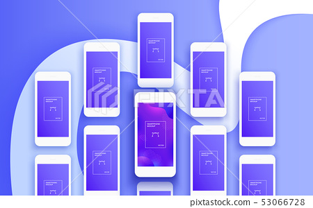 The background of the mockups of white smartphones 53066728