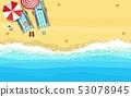 beach sun umbrellas flip-flops and beach 53078945