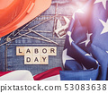 American Flag, wrench, nails, jeans and wooden 53083638