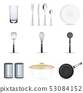 Pan vector kitchenware or cookware for cooking food with kitchen utensil cutlery and plate 53084152