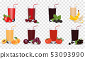Set of tasty fresh squeezed juices. Vector illustration 53093990