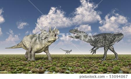 Diabloceratops and Allosaurus in a landscape 53094867