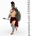 Hoplite soldier against a white background 53094992