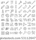 Carpentry industry equipment icons flat set with 53112647