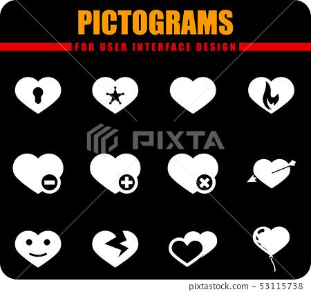Heart icons set 53115738
