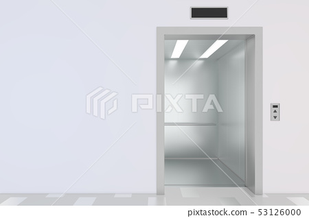 Empty elevator hall interior with waiting lift and grey walls. 3d rendering 53126000
