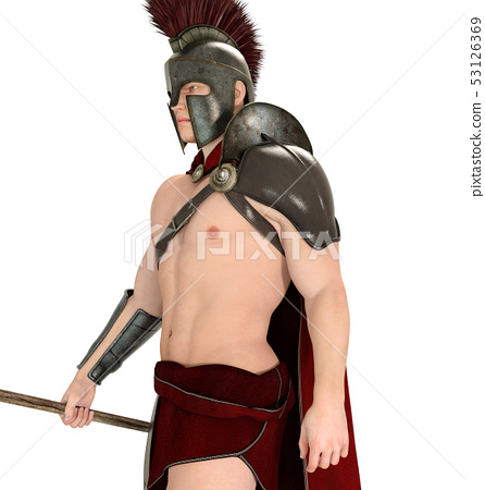 Hoplite soldier against a white background 53126369