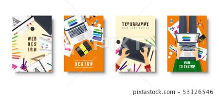 Graphic And Web Design Flat Style Covers Set Stock Illustration 53126546 Pixta