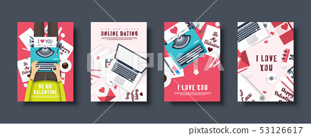 Flat covers set. Love and hearts. Valentines day. Be my valentine. 14 February. Vector illustration 53126617