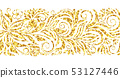 Sparkle glitter gold seamless border. Decorative swirls and flowers pattern on white background 53127446