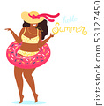 Hello summer background vector with a girl in a bathing suit and hand drawn text Hello Summer. Cute 53127450