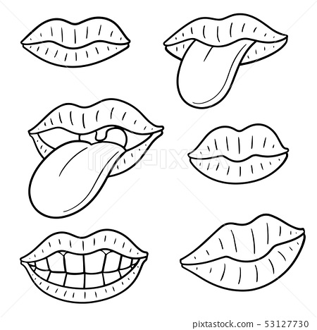 vector set of mouth and tongue 53127730