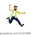 The man rejoices and jumps. Dancing boy. Vector illustration 53127968