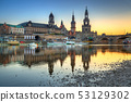 Beautiful sunset in Dresden at Elbe River, Saxony. 53129302
