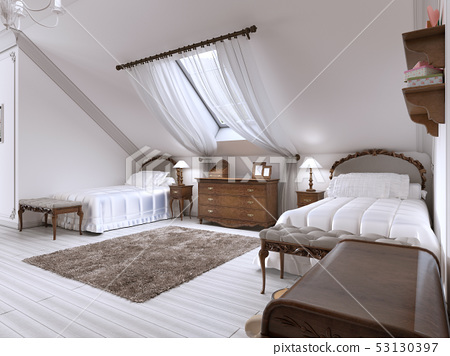 Luxury children's room with two beds and a roof 53130397
