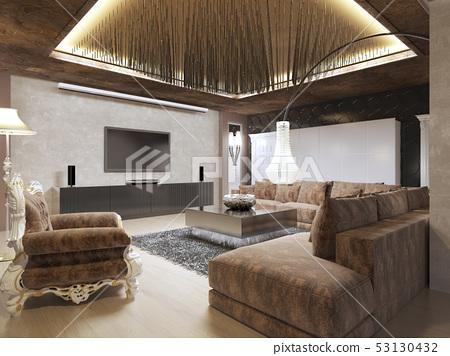Luxury Modern Living Room Done In The Art Deco Stock Illustration 53130432 Pixta
