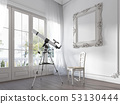 A large window and a telescope in the nursery 53130444