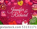 Groom and bride names, wedding day symbols of love 53131171