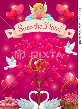 Wedding party card. Save the date, cupid and birds 53131187