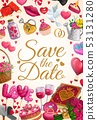 Save the Date love hearts, wedding rings and gifts 53131280