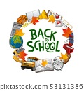 Student book, notebook, globe, bus. Back to school 53131386