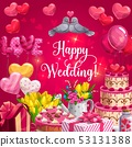 Happy wedding, heart cake, balloons and flowers 53131388