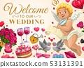 Wedding invitation, angel with love message 53131391