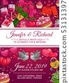 Wedding rings, cake and love hearts. Invitation 53131397