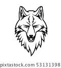 Muzzle of fox animal isolated monochrome sign 53131398