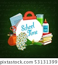 Back to school study supplies and chalkboard 53131399