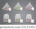 Realistic 3D tea bags, teabags template mockups 53131401