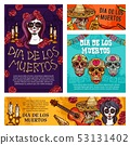 Day of Dead mexican holiday skulls and skeletons 53131402