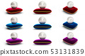 Set of pearl on red, blue and violet velvet pillow. Group gems, women's jewelry, nacre beads. For 53131839