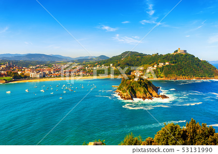 San Sebastian city, view of La Concha bay, Spain 53131990