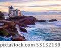 Biarritz, France, Basque coast in dramatic sunset 53132139