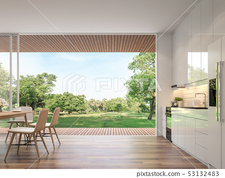 Modern kitchen and dining room 3d render 53132483