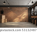 Empty loft room with orange brick wall 3d render 53132487