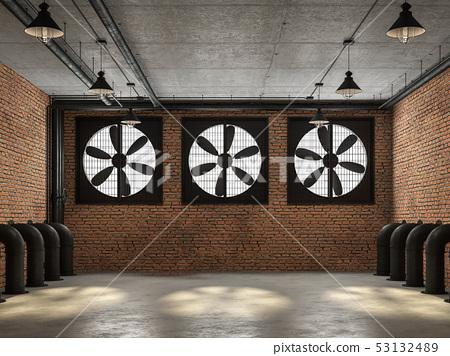 Empty loft room with big ventilation fan 3d render 53132489