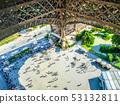 People under Eiffel tower in Paris, France 53132811