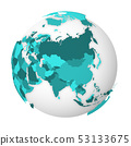 Blank political map of Asia. 3D Earth globe with turquoise blue map. Vector illustration 53133675