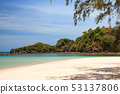 Sandy beach with the sea background. 53137806